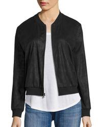 Ella Moss | Black Faux Leather Bomber Jacket | Lyst