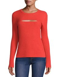 FRAME | Red Rib-knit Cutout Sweater | Lyst