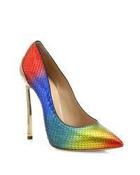 Casadei | Blue Rainbow Python Point Toe Pumps | Lyst