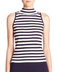 MILLY   Blue Striped Sleeveless Mockneck Top   Lyst