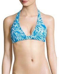 MILLY   Blue Nikia Lotus Printed Bikini Top   Lyst