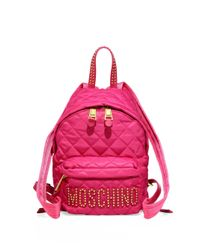 Moschino | Purple Studded Logo Patch Quilted Backpack | Lyst