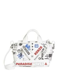 KENZO - White Kalifornia Badge Patch Leather Satchel - Lyst