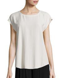 Eileen Fisher | White Silk Georgette Cap Sleeve Top | Lyst