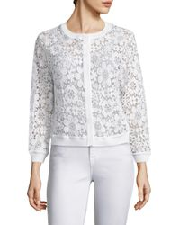 Saks Fifth Avenue | White Floral Lace Cardigan | Lyst