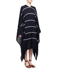 Stella McCartney Blue Deconstructed Striped Cape