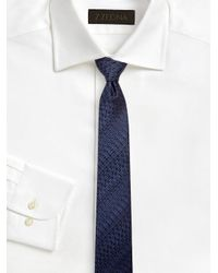Z Zegna Blue Digital Line Printed Silk Tie for men