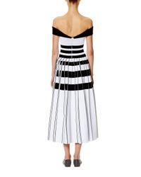 Carolina Herrera - Black Striped Off-the-shoulder Midi Dress - Lyst