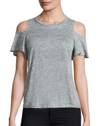 Rebecca Taylor | Gray Cold Shoulder Linen Jersey Tee | Lyst