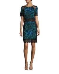 Tadashi Shoji | Black Short Sleeve Lace Cocktail Dress | Lyst
