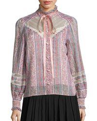 Marc Jacobs | Multicolor Lace-inset Cotton & Silk Peasant Top | Lyst
