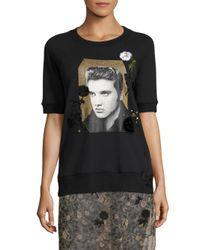 COACH Black Elvis Floral Embroidered Sweatshirt