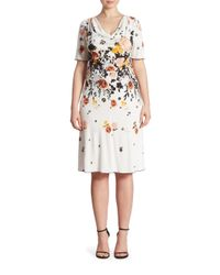 Stizzoli | White Floral Printed Cowlneck Dress | Lyst