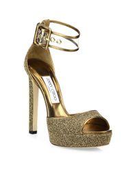 Jimmy Choo   Metallic Mayner Glitter & Pvc Platform Sandals   Lyst