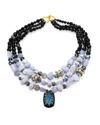 Alexis Bittar | Blue Elements Lace Agate & Crystal Three-strand Necklace | Lyst