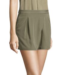 Halston Heritage - Green Faux Wrap Shorts - Lyst