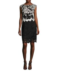 Kay Unger | Black Lace Cap Sleeves Cocktail Dress | Lyst