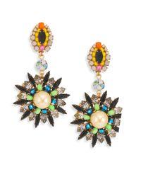 Erickson Beamon | Metallic Safari Faux Pearl & Crystal Drop Earrings | Lyst