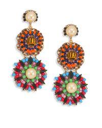 Erickson Beamon | Multicolor Safari Faux Pearl & Crystal Flower Drop Earrings | Lyst