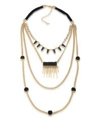 ABS By Allen Schwartz | Metallic Rock It Out Four-row Necklace | Lyst