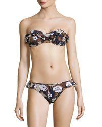 Michael Kors | Black Two-piece Ruffled Bandeau Bikini | Lyst