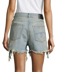 R13 - Blue Shredded High-waist Denim Shorts - Lyst