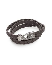 Stephen Webster | Gray Braided Leather Bracelet for Men | Lyst