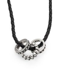 King Baby Studio | Black Sterling Silver Rings & Braided Leather Necklace | Lyst