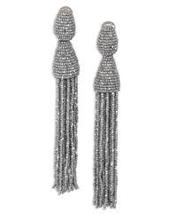Oscar de la Renta | Metallic Long Beaded Tassel Clip-on Earrings | Lyst
