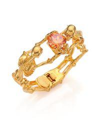 Alexander McQueen | Metallic Twin Skeleton Crystal Bracelet | Lyst
