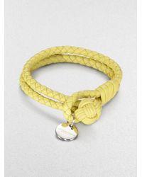 Bottega Veneta   Yellow Intrecciato Leather Double-row Wrap Bracelet   Lyst