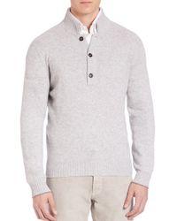 Brunello Cucinelli   Gray Cashmere Pullover Sweater for Men   Lyst
