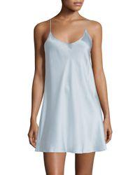 La Perla - Blue Short Sleeveless Silk Chemise - Lyst