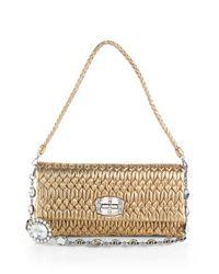 Miu Miu   Nappa Crystal Embellished Metallic Leather Shoulder Bag   Lyst