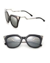Fendi | Black Zig-zag 52mm Cat Eye Sunglasses | Lyst