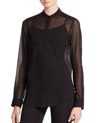 BCBGMAXAZRIA | Black Anderson Sheer Silk Blouse | Lyst