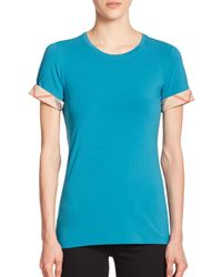 Burberry - Blue Check-cuffed Tee - Lyst