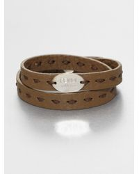 Fendi | Brown Selleria Leather Bracelet for Men | Lyst