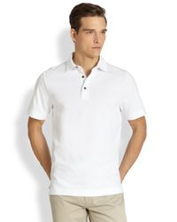 Saks Fifth Avenue | White Oxford Performance Polo for Men | Lyst