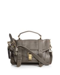 Proenza Schouler | Gray Ps1 Tiny Leather Satchel | Lyst