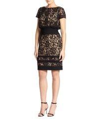 Tadashi Shoji | Black Lace Blouson Dress | Lyst