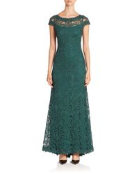 Tadashi Shoji Green Corded Embroidery On Tulle Cap Sleeve Gown - Plus Size