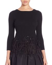 Carolina Herrera | Black Icon Collection Embellished Ostrich Feather-trim Top | Lyst