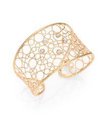 Roberto Coin | Metallic Diamond 18k Rose Gold Woven Cuff Bracelet | Lyst