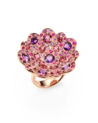 Roberto Coin | Pink Fantasia Semi-precious Multi-stone, Diamond & 18k Rose Gold Flower Ring | Lyst
