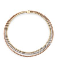 Roberto Coin | Metallic Primavera Diamond, 18k White, Rose & Yellow Gold Multi-row Necklace | Lyst