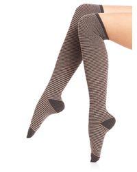 Ilux | Gray Nobo Skinny Stripe Knee-high Socks | Lyst