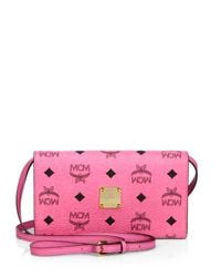 MCM | Pink Color Visetos Coated Canvas Crossbody Wallet | Lyst