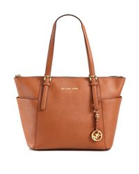MICHAEL Michael Kors | Brown Jetset Saffiano Leather Tote | Lyst