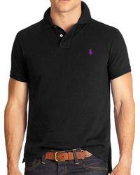 Polo Ralph Lauren - Black Custom Fit Basic Mesh Knit Polo for Men - Lyst